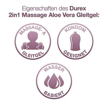 Durex Gleitgel Play 2-in-1 Massage Aloe Vera – Wasserbasiertes Gleitgel mit pflegenden Aloeveraextrakten für sinnliche Liebesmassagen – 1 x 200 ml im Spender - 2