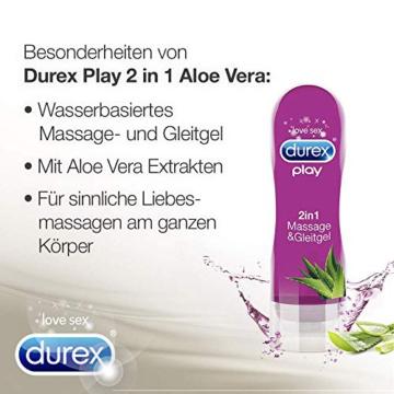 Durex Gleitgel Play 2-in-1 Massage Aloe Vera – Wasserbasiertes Gleitgel mit pflegenden Aloeveraextrakten für sinnliche Liebesmassagen – 1 x 200 ml im Spender - 3
