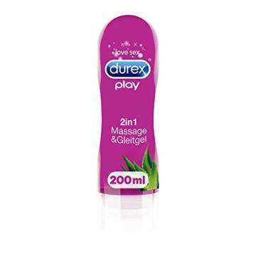 Durex Gleitgel Play 2-in-1 Massage Aloe Vera – Wasserbasiertes Gleitgel mit pflegenden Aloeveraextrakten für sinnliche Liebesmassagen – 1 x 200 ml im Spender - 1