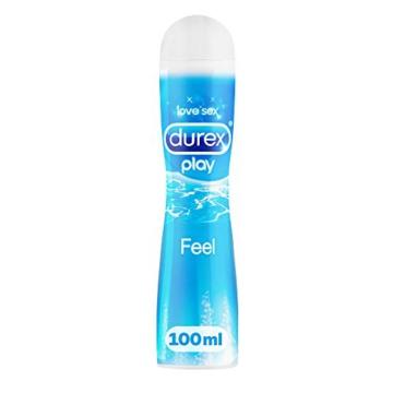 Durex Play Feel Gleitgel auf Wasserbasis – Leichtes, seidiges Gleitgel für gefühlsechtes Empfinden – 1 x 100 ml in der praktischen Dosierflasche - 1